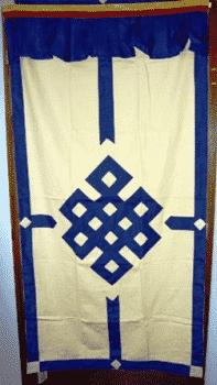 Tibetischer Türvorhang blau/crème