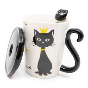 Tasse Schwarze Katze mit Löffel und Deckel