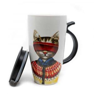 Tasse Rote Katze mit Schwanzhenkel - 400ml
