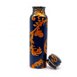 Spiru Kupfer Wasserflasche Blau Blume bedruckt - 900 ml