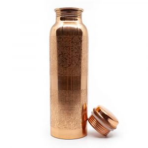 Spiru-Kupfer-Wasserflasche Floral geätzt - 900 ml