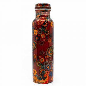 Spiru-Kupfer-Wasserflasche Blumenmalerei gedruckt - 900 ml