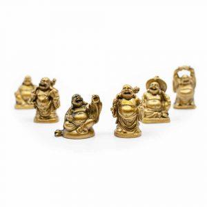 Glücks-Buddha Mini Statuen Polyresin Goldfarben - Satz von 6 - ca. 5 cm