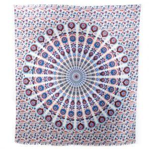 Authentisches Mandala Wandtuch Baumwolle Rot/Blau (240 x 210 cm)
