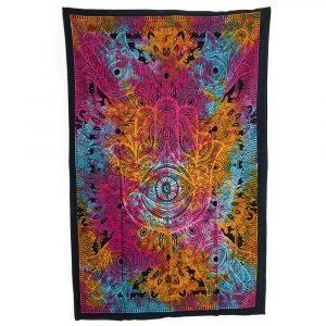 Authentisches Wandtuch Baumwolle mit Hamsahand Bunt (215 x 135 cm)