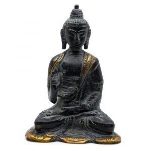 Buddha-Statue Antikes Finish - Messing - Lehre (12 cm)