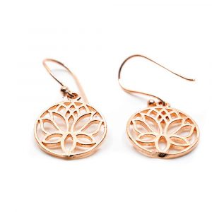Ohrringe Lotus Messing Rosegold Farbe (20 mm)