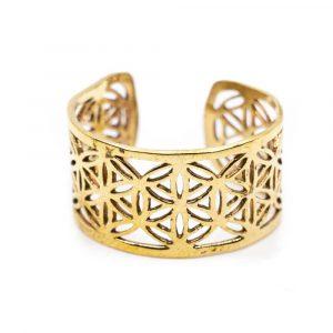 Verstellbarer Ring Blume des Lebens Gold (10 mm)